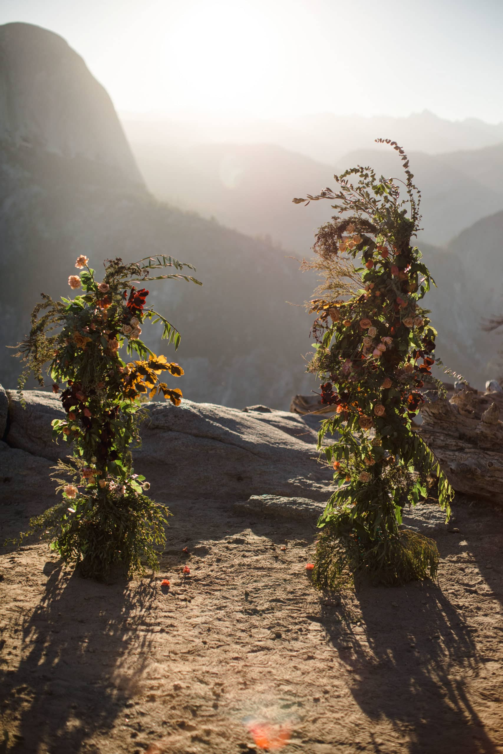 An floral arch set up for a national park elopement within yosemite.