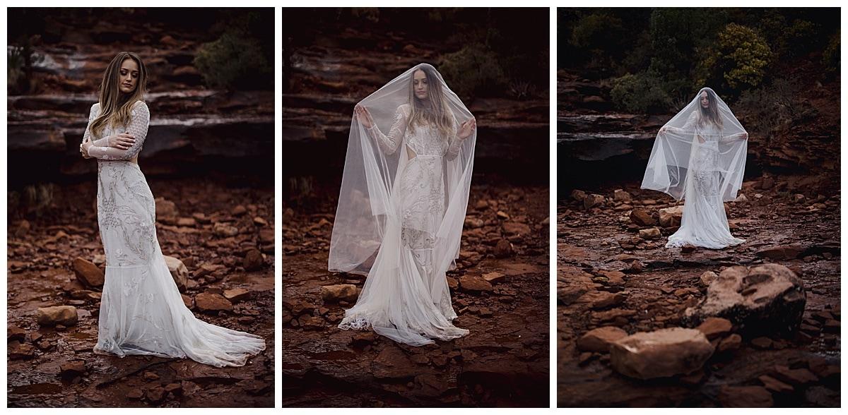 desert bride with rocks behind her at her sedona elopement