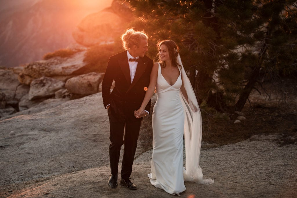 A couple walking back after their Yosemite Elopement.