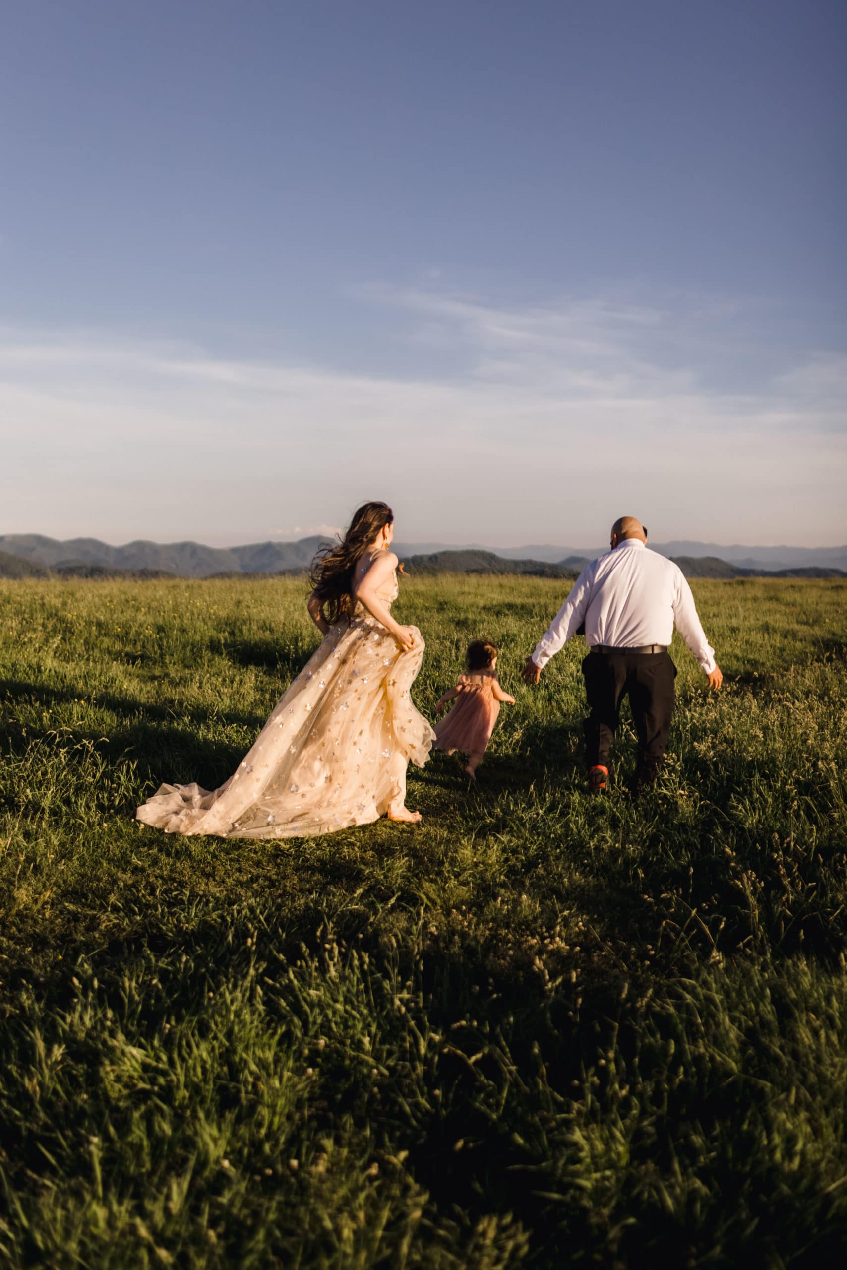 A couple that just eloping with kids in Max Patch, Tennessee.