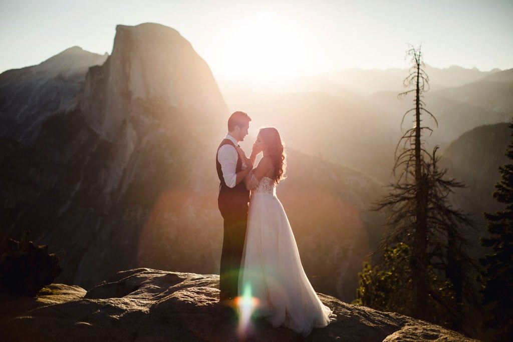 A just married couple at their elopement in Yosemite having self solemnized their marriage.