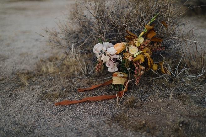 Elopement photography of a wedding bouquet at a desert wedding venue.