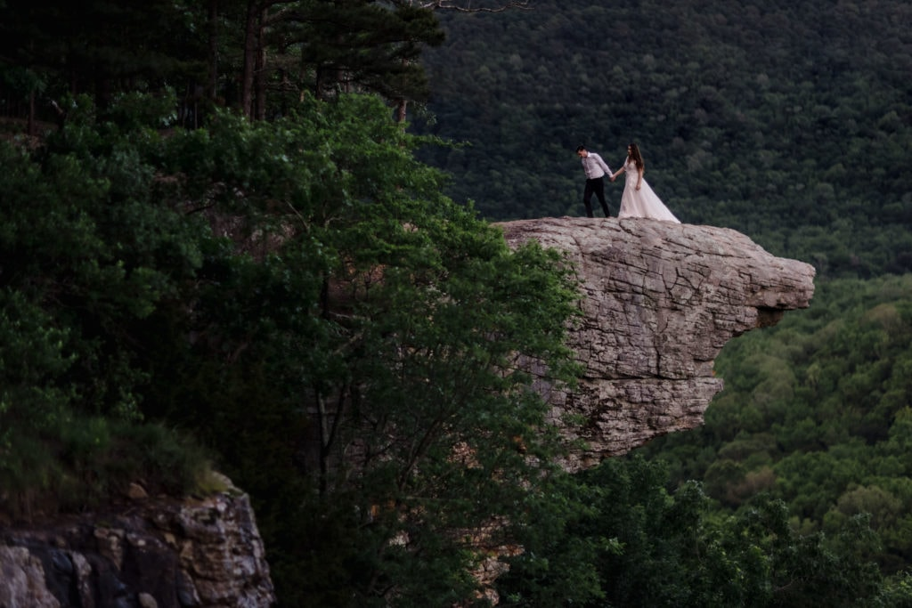 Couple that just had a destination vow renewal in the mountains.
