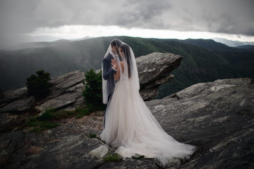 A bride and groom that eloped in Asheville after purchasing an elopement package.
