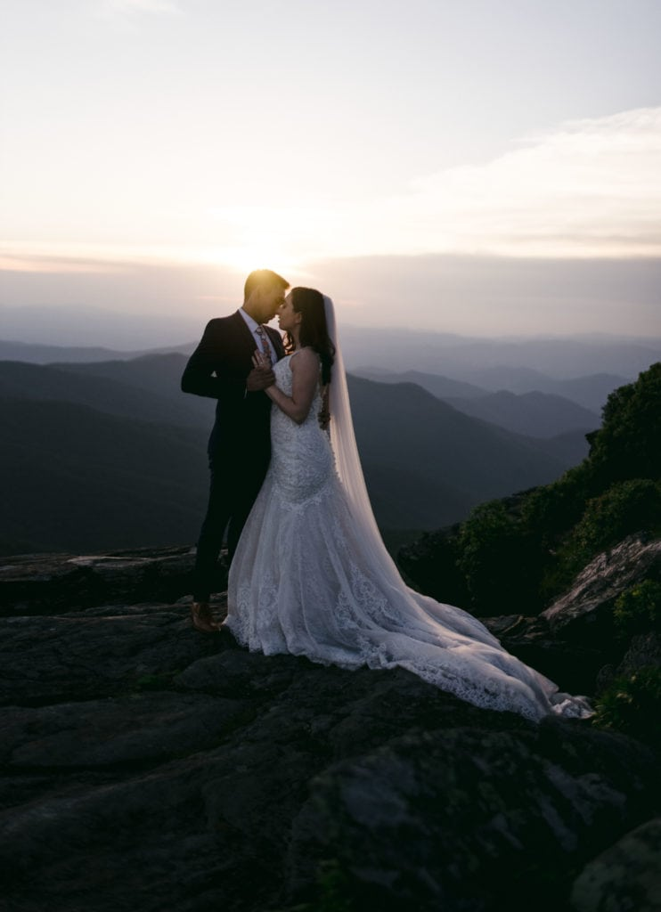 A couple that just got married at a Blue Ridge Mountain Wedding Venue.