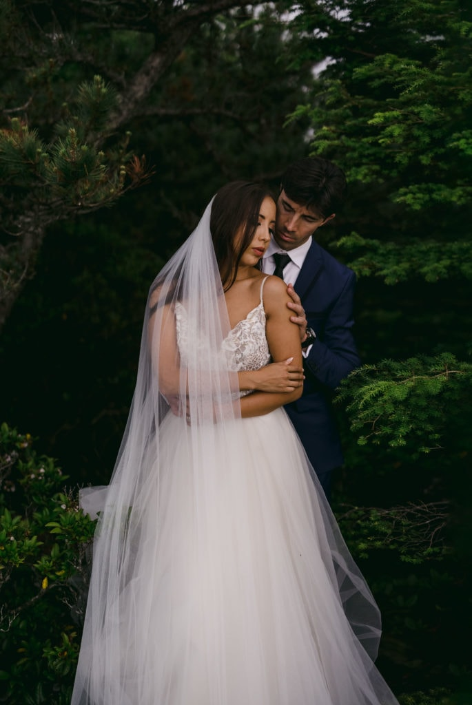 A bride and groom in an intimate moment at their Asheville wedding venues.