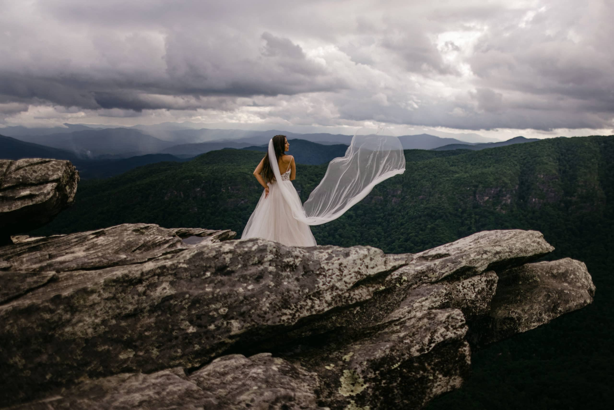 A image of a bride at Craggy Gardens, one of the best venues in the Smoky Mountains.
