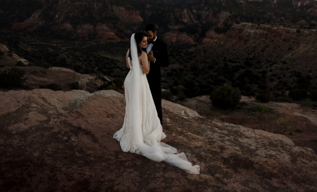 Elopement in Palo Duro Canyon at sunset.