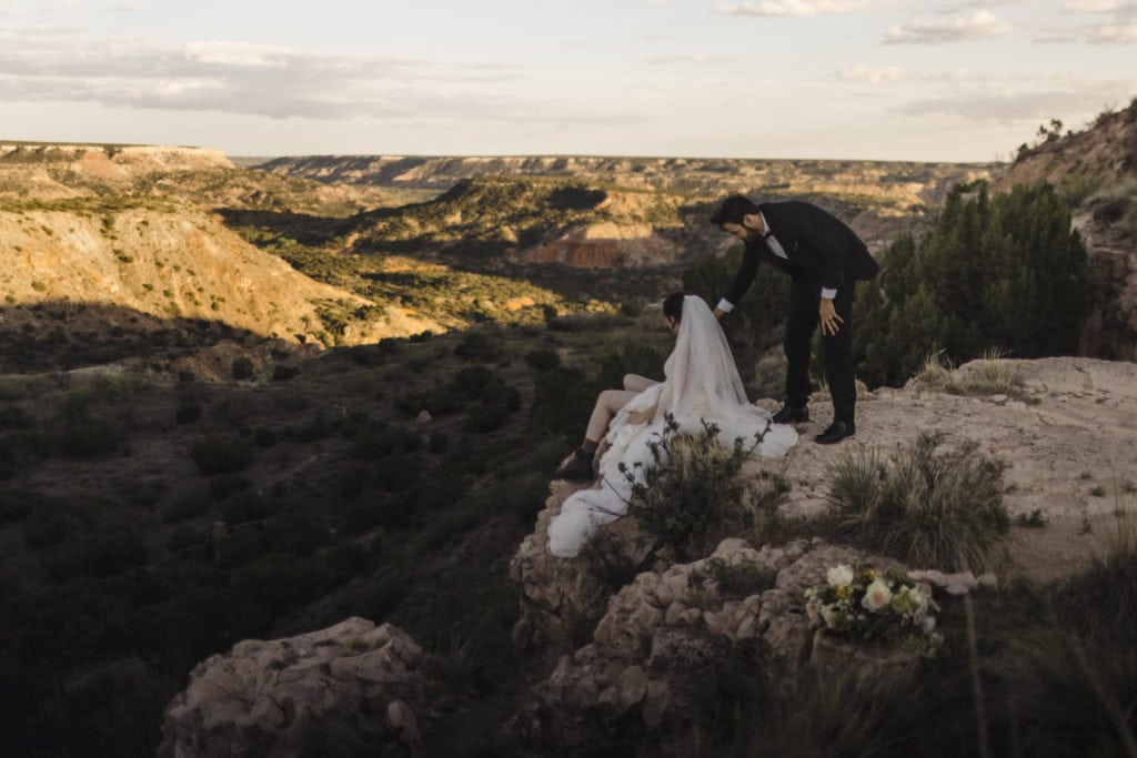A couple that was just married at their Palo Duro elopement.