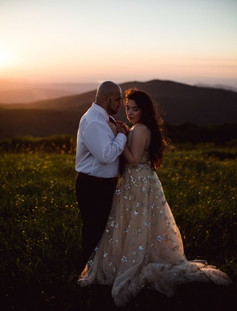 A couple that just eloped at an Asheville Wedding Venue.