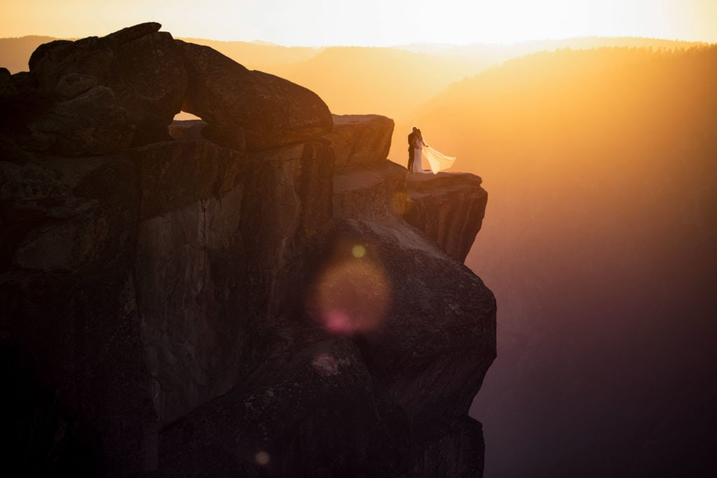 A couple at Taft Point, their Yosemite Wedding location.