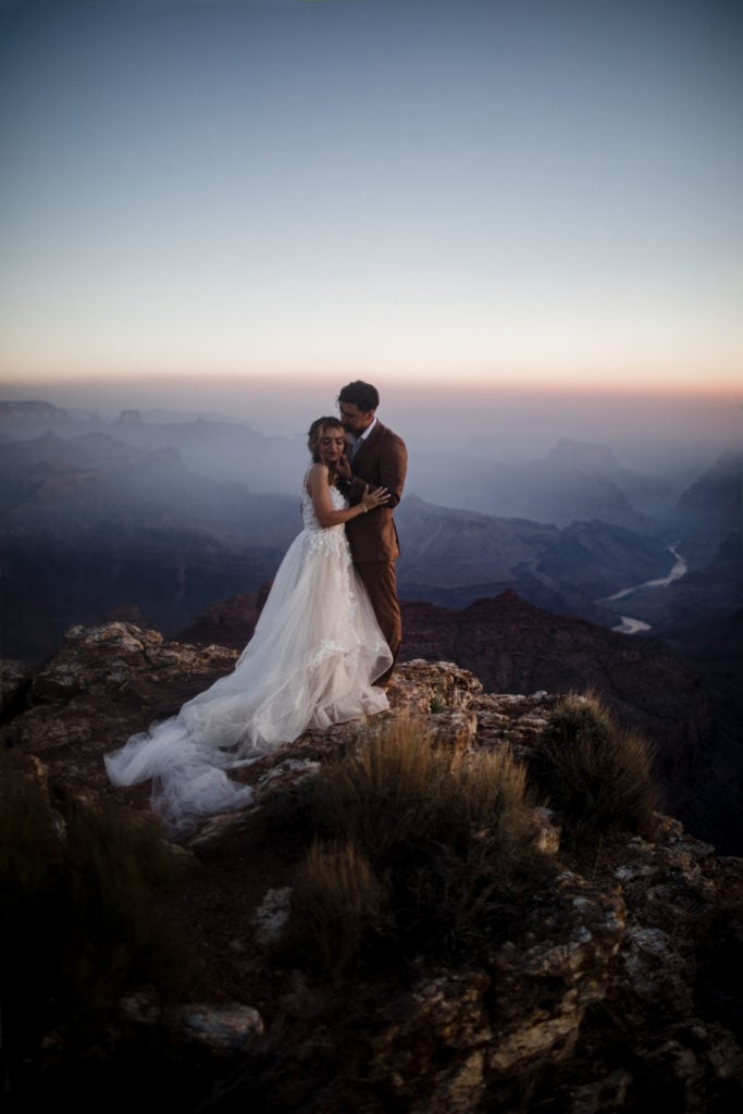 A couple at their Grand Canyon elopement.