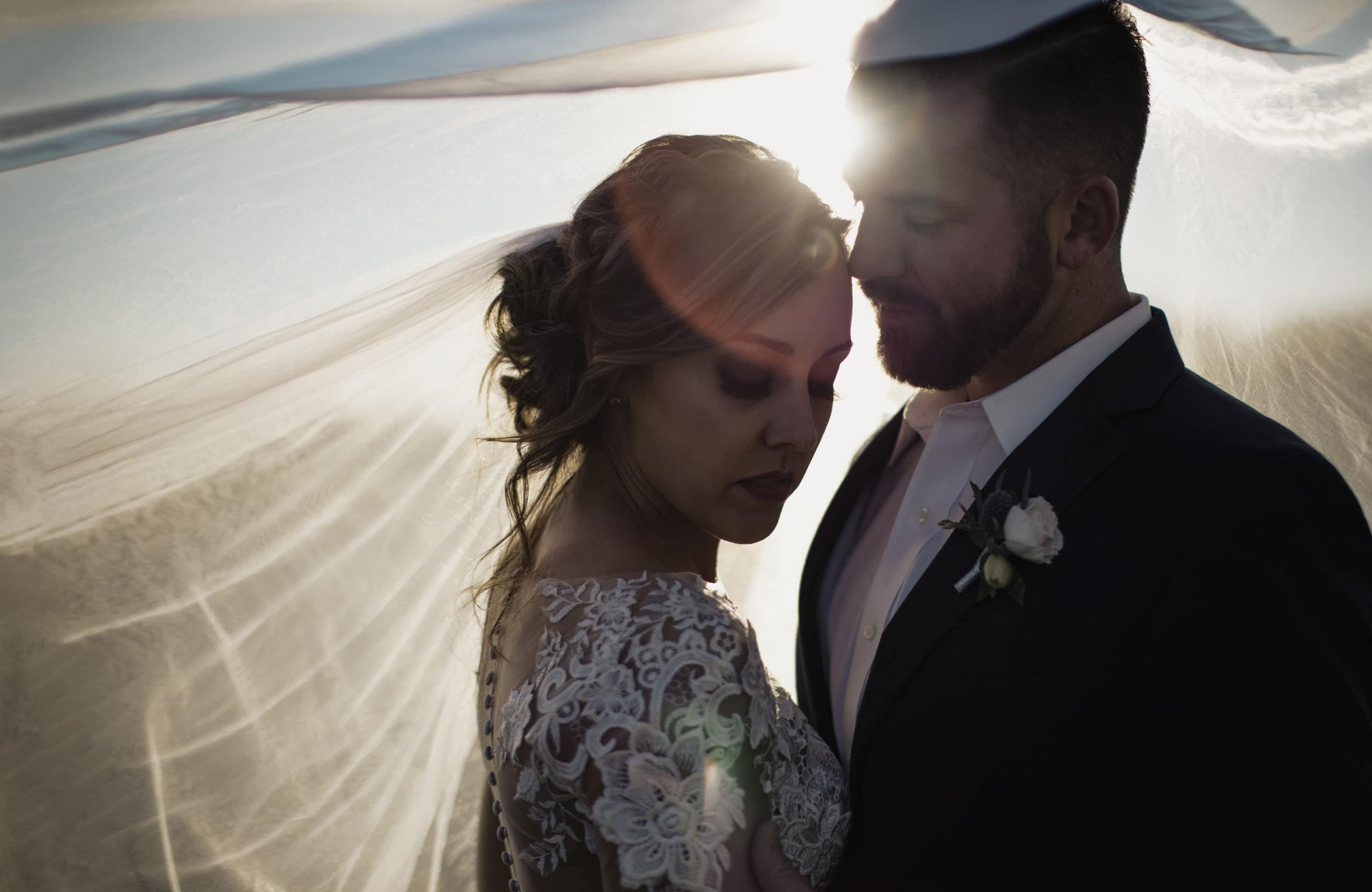 A couple that eloped abroad in Greece.